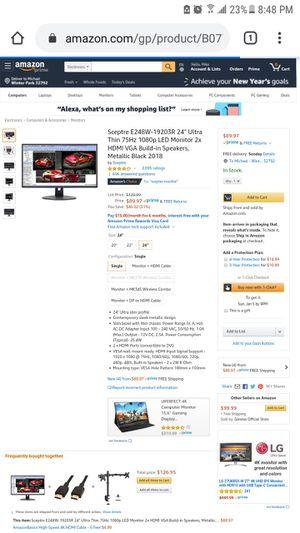 Sceptre E248W Computer Gaming Monitors x3 w/ Mount it 3 Monitor Stand!! for Sale in Aloma, FL