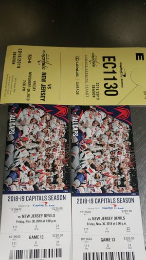 Capital ticket for tonight's game for Sale in West Springfield, VA