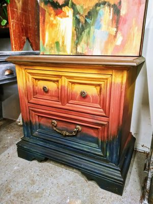 Boho / Southwest / Ombre Side Table / Nightstand! 25H x 26W x 16D for Sale in Joliet, IL