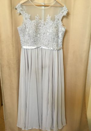 Bridesmaid Dress Satin Grey/Silver with Sheer and Sequin decal. for Sale in Fontana, CA