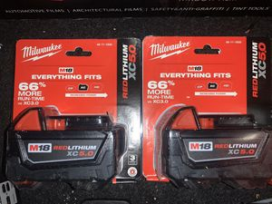 Milwaukee battery's new 5.0 1 for $55 or 2 for $100 for Sale in Anaheim, CA