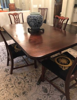 Double pedestal Sheraton style antique dining table for Sale in Houston, TX