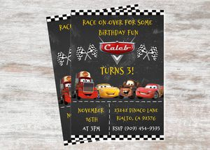Disney Cars Lightning McQueen Birthday Party Custom Invitations for Sale in Rialto, CA