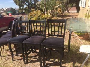 3 TALL CHAIRS FOR HIGH DINNER TABLEo for Sale in El Paso, TX