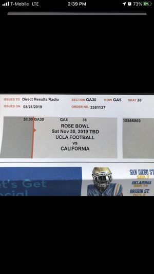 2 Ucla football Vs California tickets for Saturday November 30,2019 $75 for both for Sale in Fontana, CA