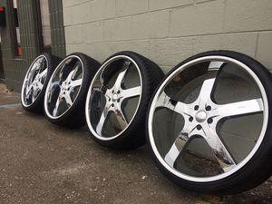 Like new chrome wheels tires used rims 14 15 16 17 18 19 20 22 24 26 30 35 40 50 60 70 80 45 55 65 75 185 195 205 215 225 235 245 255 265 275 285 295 for Sale in Warren, MI