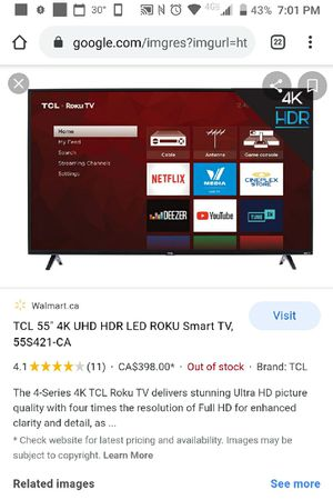 TCL smart 4K tv 55 inch with Roco in very good condition for Sale in Des Plaines, IL