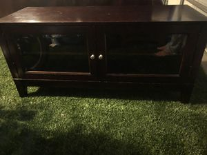 Glass Doors Dark Brown Wood Entertainment TV Console Cabinet for Sale in Charlotte, NC