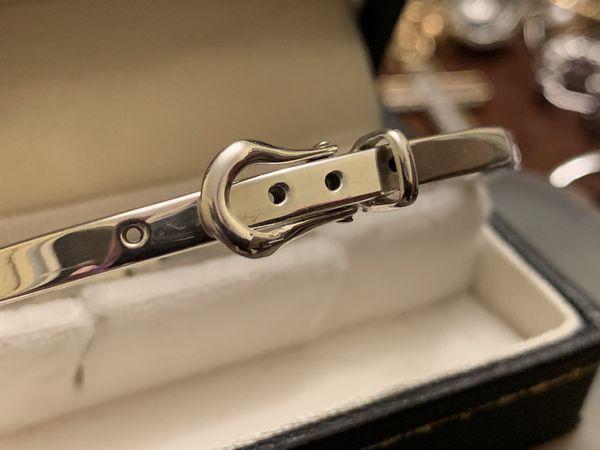 Vintage 925 Sterling Silver Belt Bangle Braclet