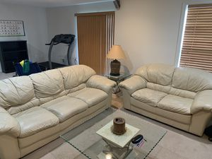 Leather Couches w/ End Table for Sale in Rossville, MD