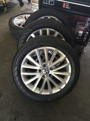 Brand new Continental HP tires 225/50 R17 on Volkswagen rims 5x112 for Sale in Sherborn, MA