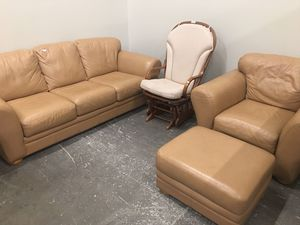Nice leather sofa & chair w /footstool for Sale in Fort McDowell, AZ