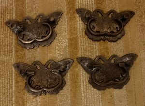 Antique Brass Decorative Butterfly Handles - Set of 4 for Sale in Cary, NC