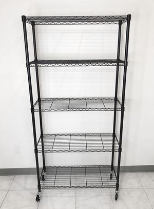 "$70 NEW Metal 5-Shelf Shelving Storage Unit Wire Organizer Rack Adjustable w/ Wheel Casters 36x14x74"" for Sale in Santa Fe Springs, CA"
