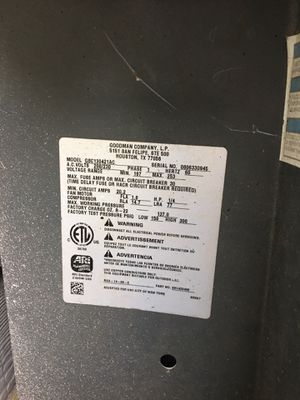 Goodman 3ton ac unit with heater for Sale in Houston, TX