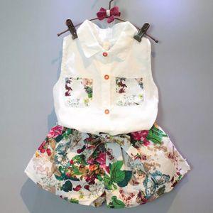 Kids Set 2019 Girls Sleeveless Printed Shirt + Green Leaf Floral Shorts Set Toddler Girl Clothes Summer Roupas De Menina for Sale in Orlando, FL