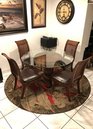(6) Piece Elegant Glass Breakfast Table With Leather Cushioned Chairs for Sale in Opa-locka, FL