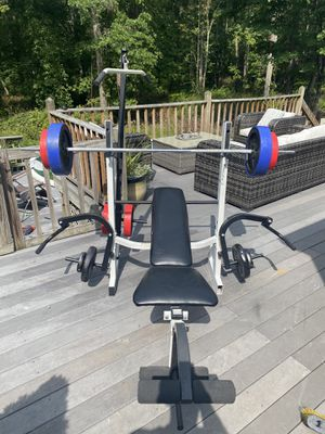 Beginners bench with bars in weight for Sale in Hamden, CT