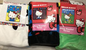 3 New hello kitty blankets throw 3 designs plush for Sale in Newton, MA