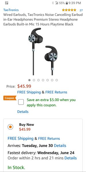 New Taotronics Noise Canceling Earbuds for Sale in Columbus, OH