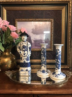 "Add this classic blue and white oriental figurine to your collection! He is 11.5"" tall and stamped underneath for Sale in Norcross, GA"