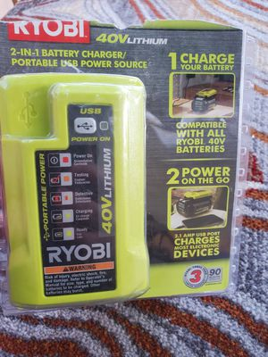 RYOBI 2in1 battery charger 40 volt for Sale in San Diego, CA
