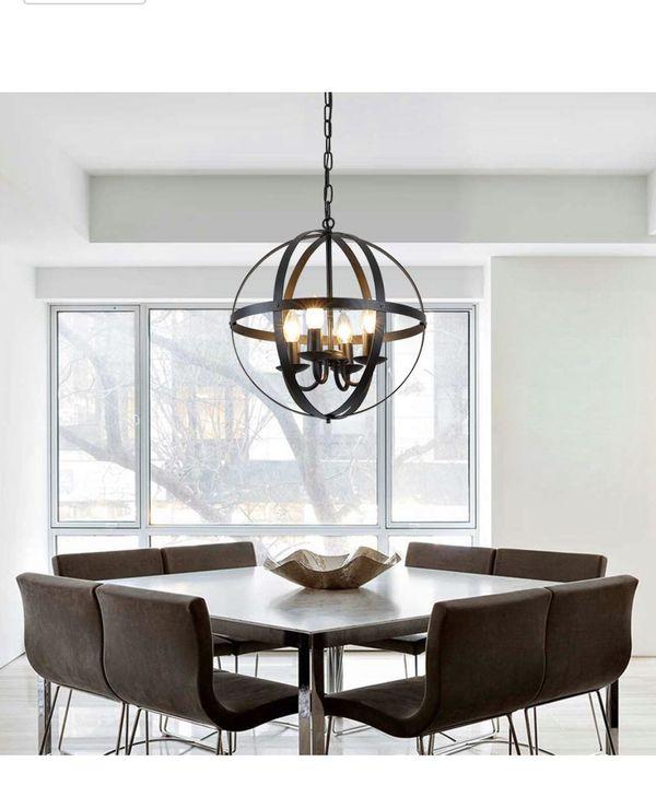 4-light modern rustic sphere chandelier, industrial vintage retro pendent light, matte black finish