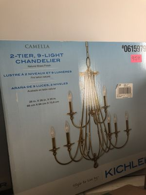 Kichler Camella 25.98-in 9-Light Natural brass Williamsburg Candle Chandelier for Sale in Memphis, TN