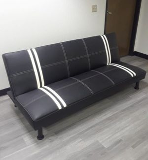 Brand New Black Leather Tufted Futon With White Stripes for Sale in Puyallup, WA
