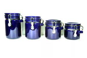 Oggi EZ Grip 4 Piece Set BLUE Ceramic Airtight Canister Jars h Kitchen RARE for Sale in Lemon Grove, CA