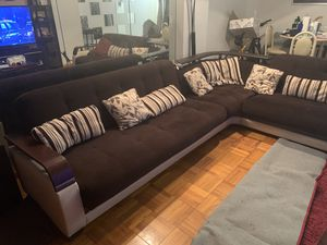 Very big sofa with storage and reclinable. Very easy to clean for Sale in Old Bridge Township, NJ