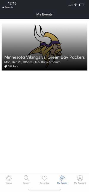 MINNESOTA VIKINGS VS GREEN BAY PACKERS 12-23-2019 for Sale in Minneapolis, MN