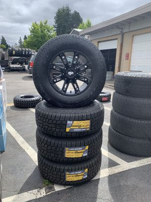 """BRAND NEW 17"""" wheels 6x135 6x5.5 on 265/70/17 all terrain tires for only $1399 all four!!!!! for Sale in Puyallup, WA"""