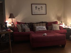 Oversized Red Ultra Suede Sofa (ottoman not included) for Sale in Lovingston, VA