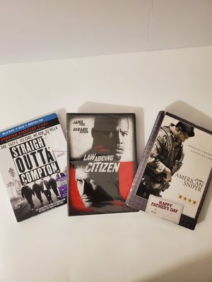 3 Dvd Set Straight out of Compton Blu-ray, American Sniper, Law Abiding Citizen for Sale in Moreno Valley, CA