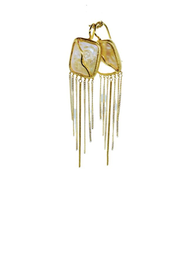 18k Mother Of Pearl drop earrings