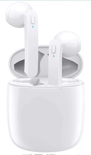 Wireless Earbuds, Bluetooth 5.0 Headphones Hi-Fi Stereo Bluetooth Earbuds Half in-Ear True Wireless Earbuds, with Buit-in Mic (White) for Sale in Brooklyn, NY