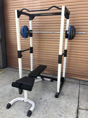 Full Squat Rack w/ Adjustable Bench, 265 Lb Olympic Weight Set Complete Home Gym for Sale in Davenport, FL