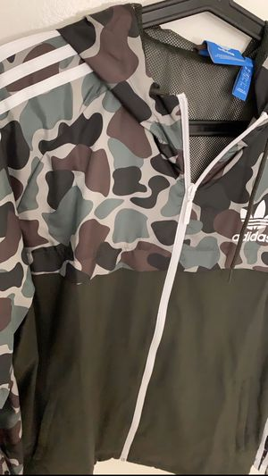 New Adidas Camo Rev Windbreaker Camouflage Jacket Multicolor Hoodie BS4907 Brand New with Tags for Sale in Los Angeles, CA