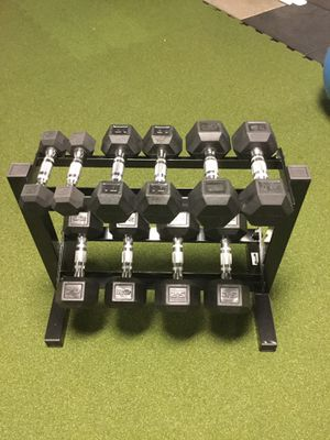 150lb Rubber Hex Dumbbell Set with rack for Sale in Houston, TX