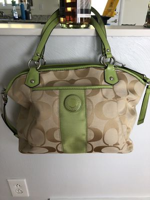 Large Coach Purse with Green Accents for Sale in Washington, PA