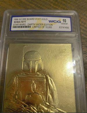 1996 Star Wars Darth Vader Edition Boba Fett Limited Edition Card 23kt Gold WCG 10 graded for Sale in Ocoee, FL