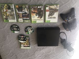 Xbox 360 with 2 controllers and 7 games for Sale in Poway, CA