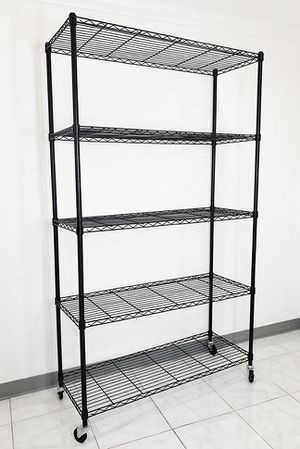 "New $90 Metal 5-Shelf Shelving Storage Unit Wire Organizer Rack Adjustable w/ Wheel Casters 48x18x82"" for Sale in El Monte, CA"