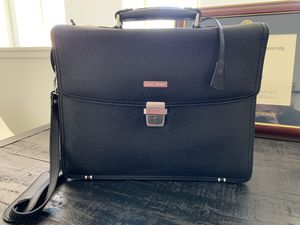 Brooks Brothers Black Genuine Leather Laptop Briefcase Messenger Bag for Sale in Irvine, CA