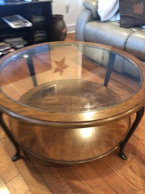 Wood and glass round cocktail table for Sale in Warminster, PA