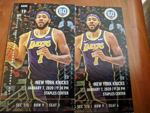 2 tickets Lakers vs. Knicks Section 115, Row 9 for Sale in Los Angeles, CA