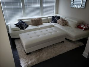 White leather couch, Chase, and ottoman for Sale in Smyrna, GA