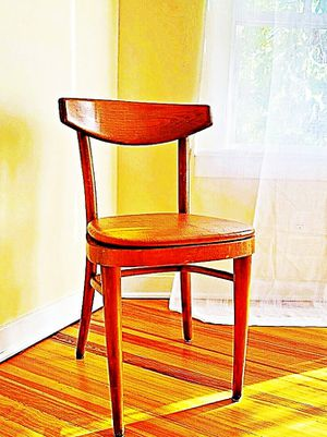 Wooden Shelby Williams Industries MCM chairs (4) with leather seat cushion. for Sale in Georgetown, MA