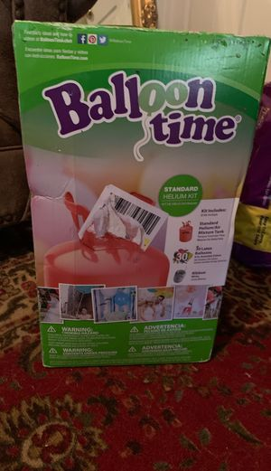 Balloon time helium tank with 30 balloons and ribbon for Sale in DeLand, FL